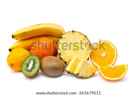 Fresh fruit - pineapple, kiwi, oranges, lemon and bananas on white background - stock photo