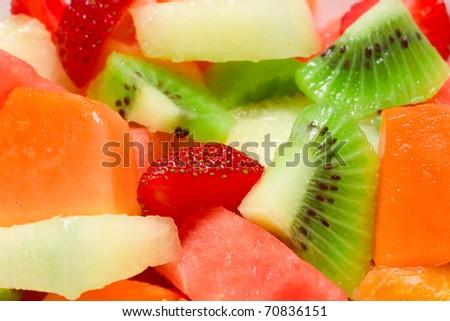 Fresh Fruit Salad background - stock photo