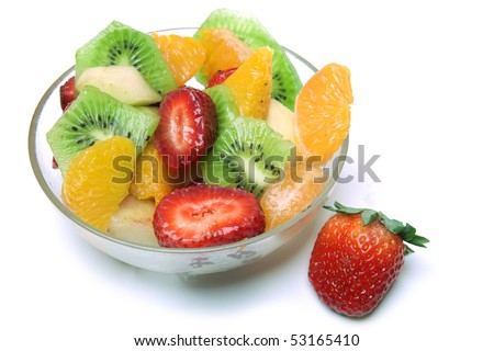 Fresh Fruit Salad in the bowl - stock photo