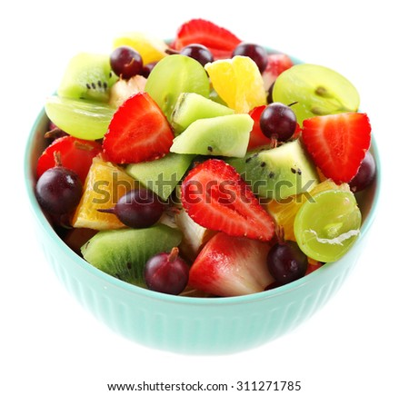 Fresh fruit salad, isolated on white - stock photo