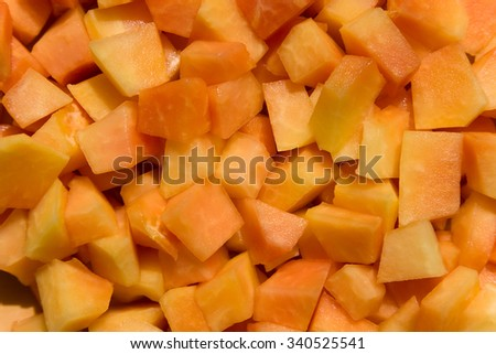 Fresh fruit salad with papaya, - stock photo