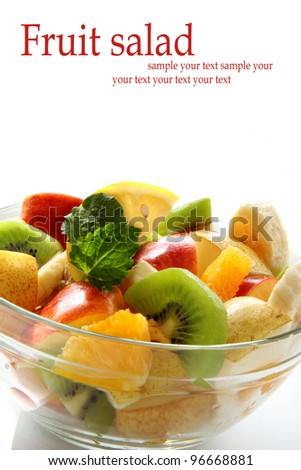 Fresh fruit salad with space for text - stock photo