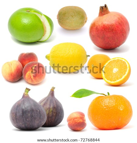 Fresh Fruit Set Isolated on White Background - stock photo