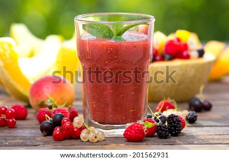Fresh fruit smoothie in the glass - stock photo