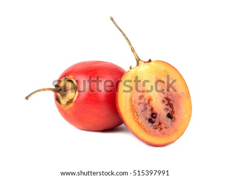 Fresh fruit tamarillo with a juicy half on a white background
