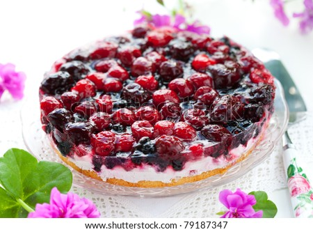 fresh fruit tart on the plate - stock photo