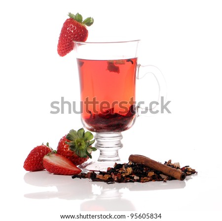 Fresh fruit tea with strawberry
