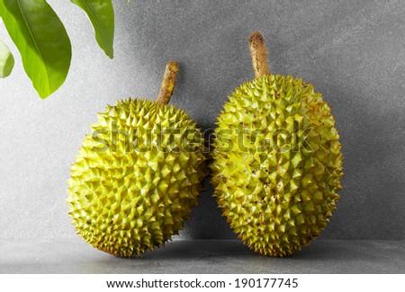 Fresh fruit,two Durians - stock photo