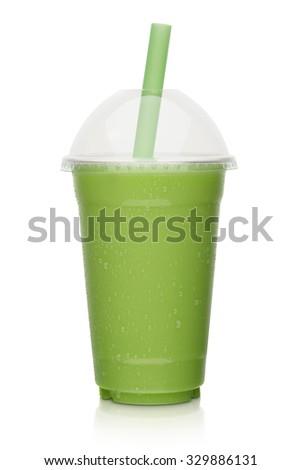 fresh fruit vegetable smoothie, shake isolated on white background - stock photo