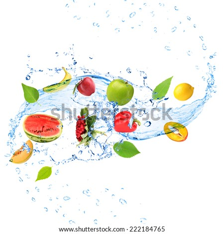 Fresh fruit, vegetables and green leaves with water splash, isolated on white - stock photo