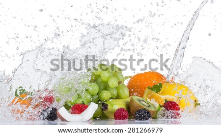 Fresh fruit with water splash on white background - stock photo