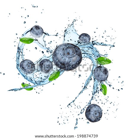 Fresh fruit with water splash over white background - stock photo