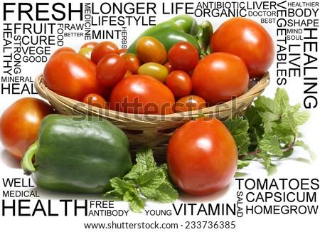 Fresh fruit with wording - stock photo