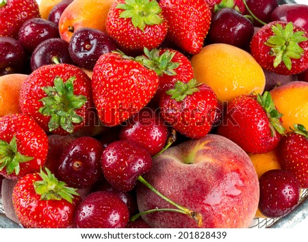 fresh fruits and berries - stock photo