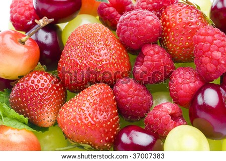 fresh fruits and berries set mix heap pile close up surface top view background