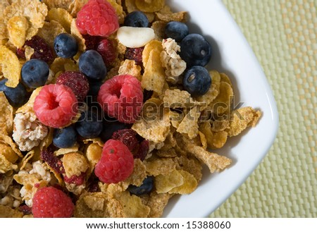 Fresh fruits and cereal - stock photo