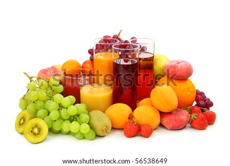Fresh fruits and juice isolated on white background - stock photo