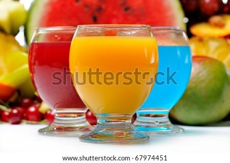 fresh fruits and natural juice - stock photo