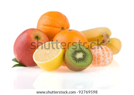 fresh fruits and slices isolated on white background