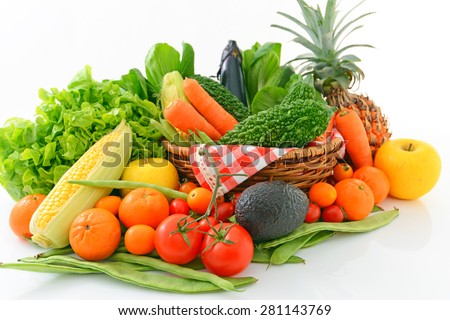Fresh fruits and vegetables - stock photo
