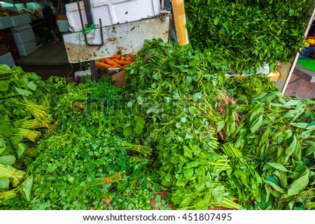 Fresh Fruits and Vegetables at Little India City Market, Singapore - stock photo