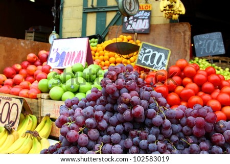 Fresh fruits and vegetables at the local market in Valparaiso, Chile. - stock photo