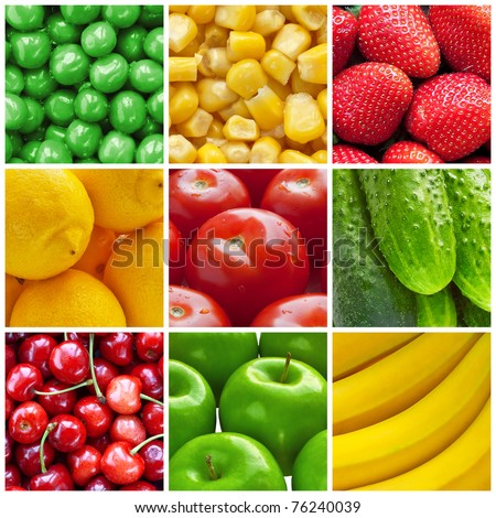 Fresh fruits and vegetables collage - stock photo