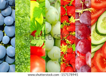 Fresh fruits and vegetables collage.Food background. - stock photo