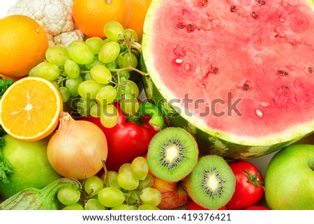 Fresh fruits and vegetables. Food background