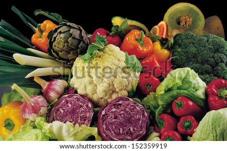 fresh fruits and vegetables,Fruits and vegetables like tomatoes, zucchini, melons, pepper and cabbage arranged in a group, natural still life for healthy food - stock photo