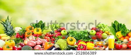 Fresh Fruits and vegetables. Health and diet background - stock photo