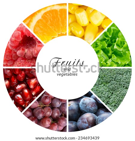 Fresh fruits and vegetables. Healthy food concept - stock photo