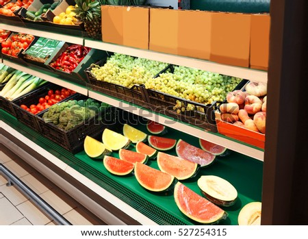 Fresh fruits and vegetables in supermarket
