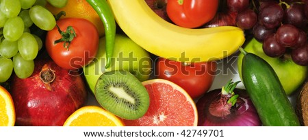 fresh fruits and vegetables isolated on a white - stock photo