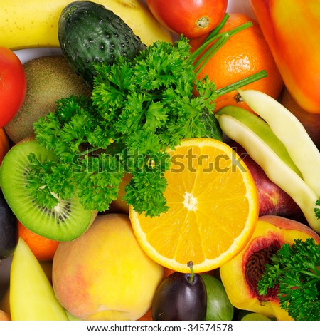 fresh fruits and vegetables isolated on a white background - stock photo