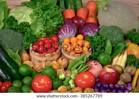 Fresh Fruits and vegetables organic for healthy lifestyle - stock photo