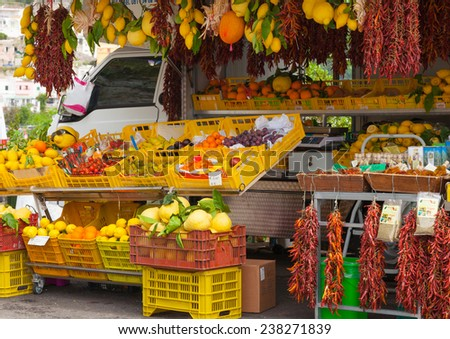 Fresh fruits and vegetables, Sorrento, Italy - stock photo