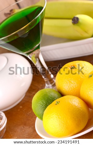 fresh fruits and wine - stock photo