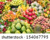 Fresh fruits at a market of Barcelona - stock photo