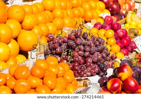 Fresh fruits at a outdoor market in venice - stock photo