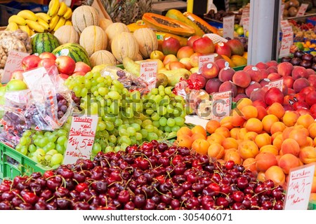 Fresh fruits at the market booth
