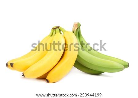Fresh fruits banana isolated on white background. - stock photo