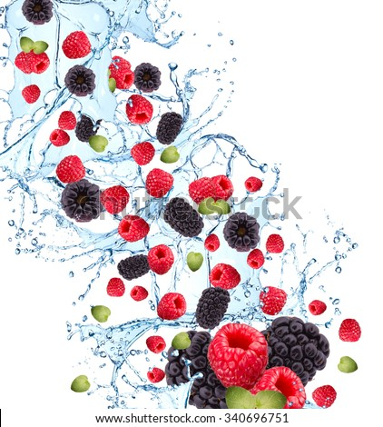 Fresh fruits, berries falling in water splash, isolated on white background