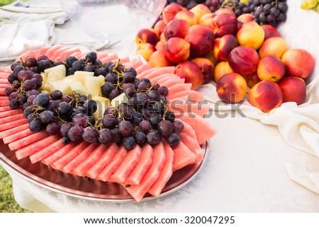 Fresh fruits buffet  - stock photo