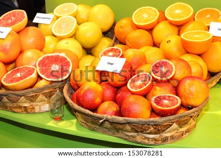 Fresh fruits (citrus) on the table