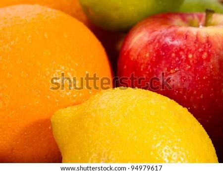 fresh fruits close up - stock photo