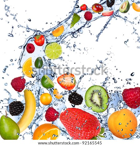 Fresh fruits falling in water splash, isolated on white background