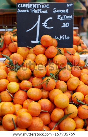 Fresh fruits for sale on Provence market, PACA, France - stock photo