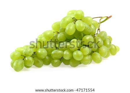Fresh fruits. Green grapes  isolated on white background