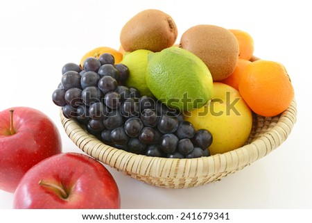 Fresh fruits in a basket - stock photo